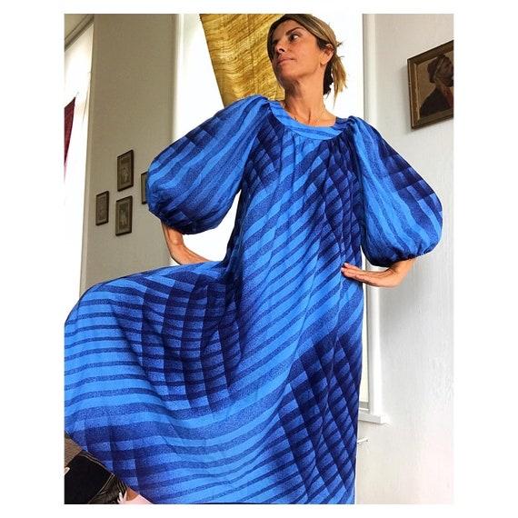 KAISSU HEIKKILA 1970s balloon sleeves Smock dress.