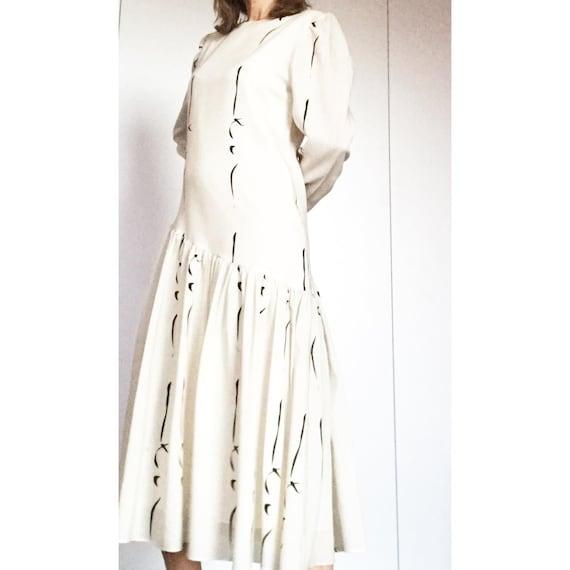 VUOKKO NURMESNIEMI Finland Wool blend ruffled/ bla