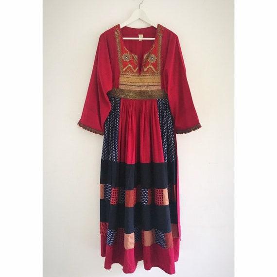 RARE Vintage Afghan Banjara patchwork beaded dress