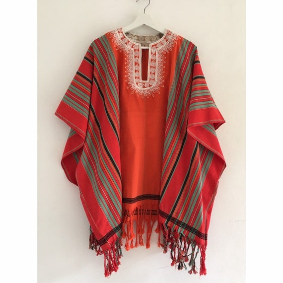 1970s Woodstock embroidered poncho.