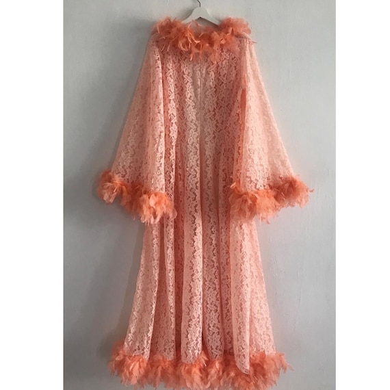 1970s LACE VINTAGE Feathers Coat with amazing big