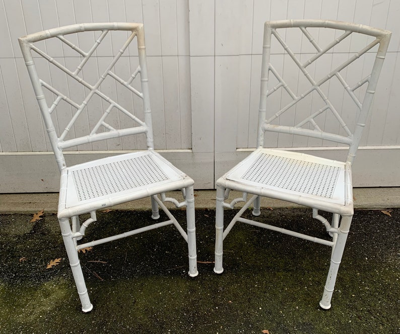 Pair Of Metal Faux Bamboo Chippendale Chairs Etsy
