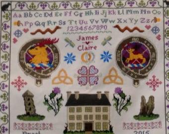 Sampler Through the Stones - an Outlander inspired cross stitch sampler pattern