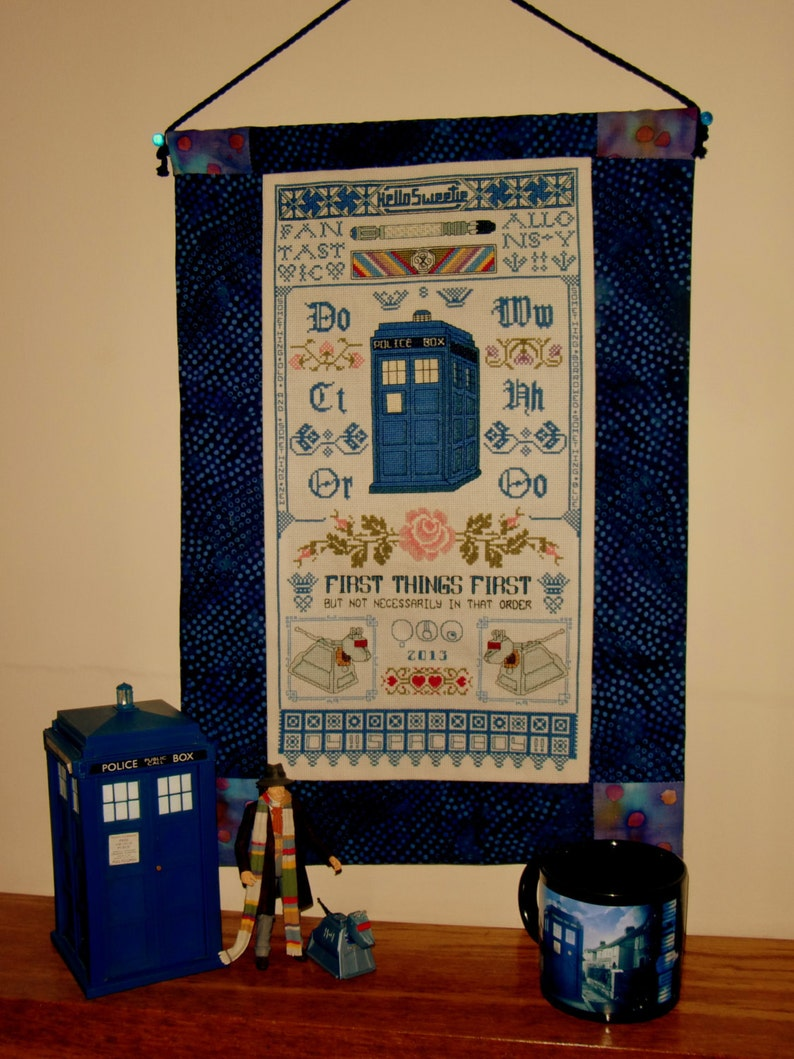 Sampler in Time  Doctor Who  Inspired Cross Stitch Sampler image 0
