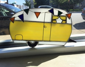 Happy Camper Trailer RV Stained Glass Suncatcher Airstream