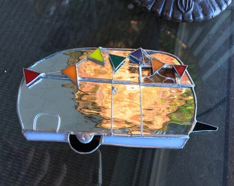 Happy Camper Trailer RV Airstream Stained Glass Suncatcher