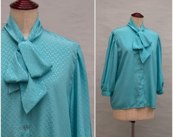 6a3bc3e04079c7 Vintage blouse, 80's ladies pussy bow blouse, Turquoise secretary blouse,  three quarter length sleeves, Shirt style top, 80's Power dressing