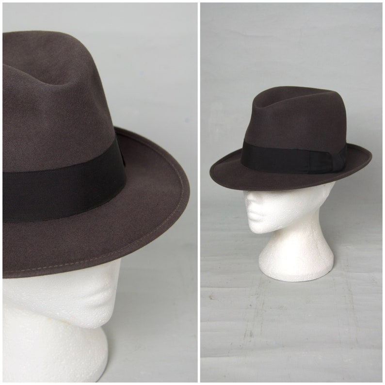 f571bf922 Vintage Fedora, 1950's / 60's grey felt Fedora, Snap brim Trilby with  petersham ribbon band, Pinch front and central dent, Hillhouse, 6 3/4
