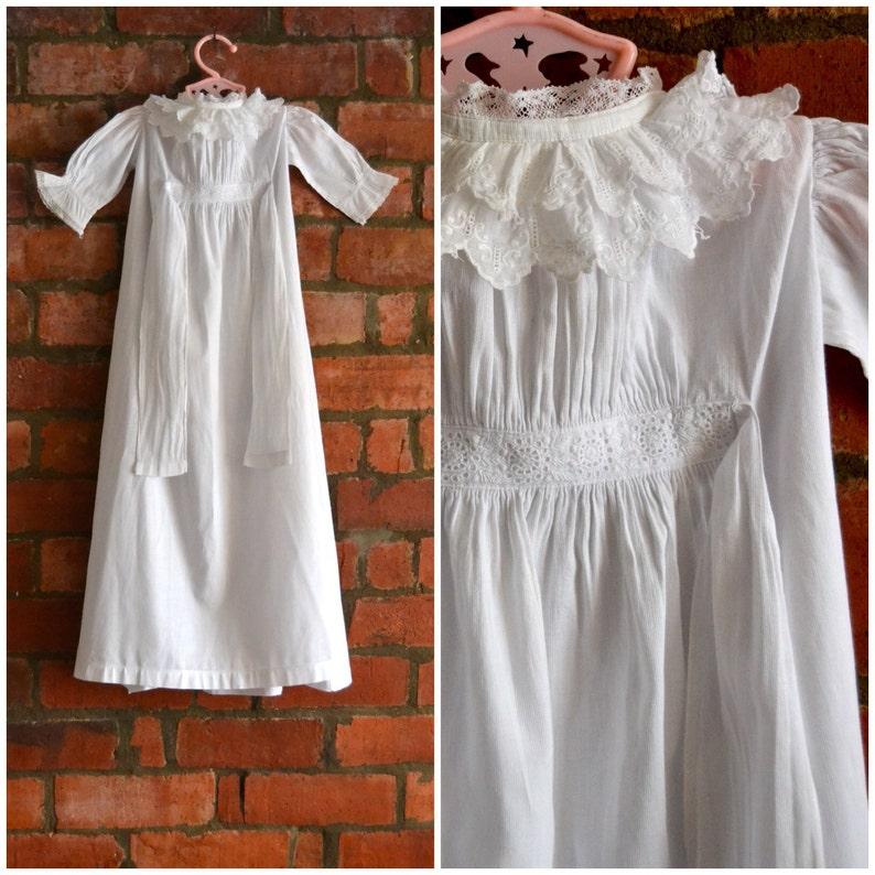 44ceda62579d Vintage Christening gown Heirloom Baptism dress Long white | Etsy