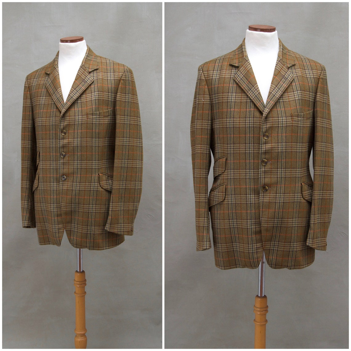 Vintage Blazer / Jacket, Men's 1970's Suit Style Lounge Brown Checked Wool Tweed Country Sports English Gent