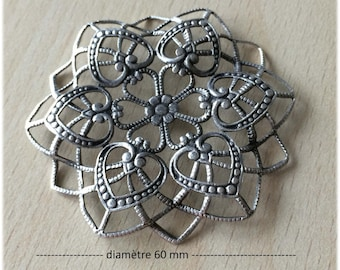 """Connector / pendant """"rosace sifter"""" filigree antique silver"""