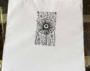 """embroidered tote bag """"flower pencil stroke 04"""""""