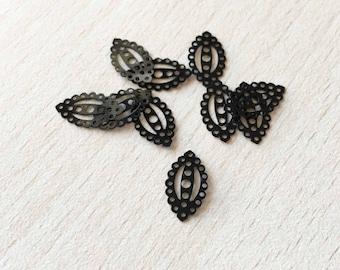 pretty sequin black filigree oval