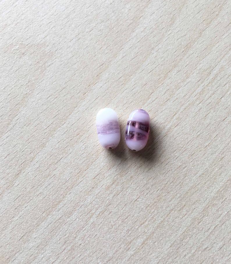 purple hand made glass bead shape Oval color