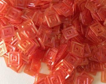 Color 6 mm orange iridescent square glitter in bulk