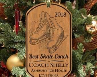 ice skate coach christmas ornament engraved wood keepsake personalized free with name skating - Ice Skating Christmas Ornaments