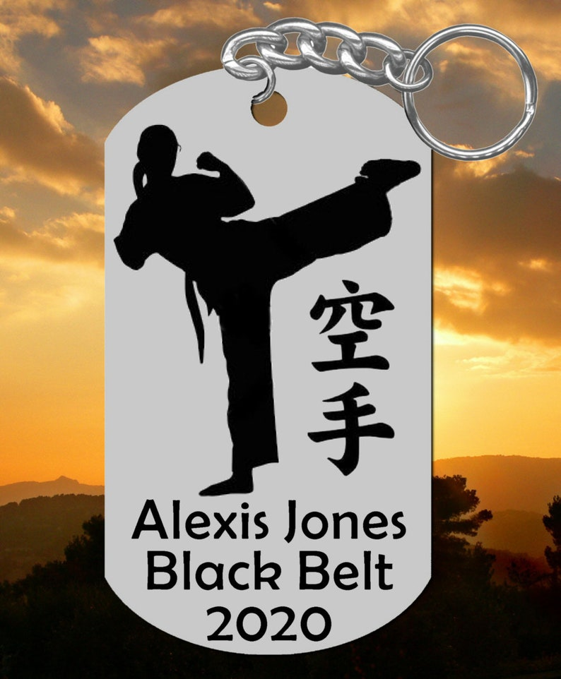 Karate Keychain Gift Female Design Personalized FREE w NAME Belt Color and Year Stainless Steel For Woman or Girl