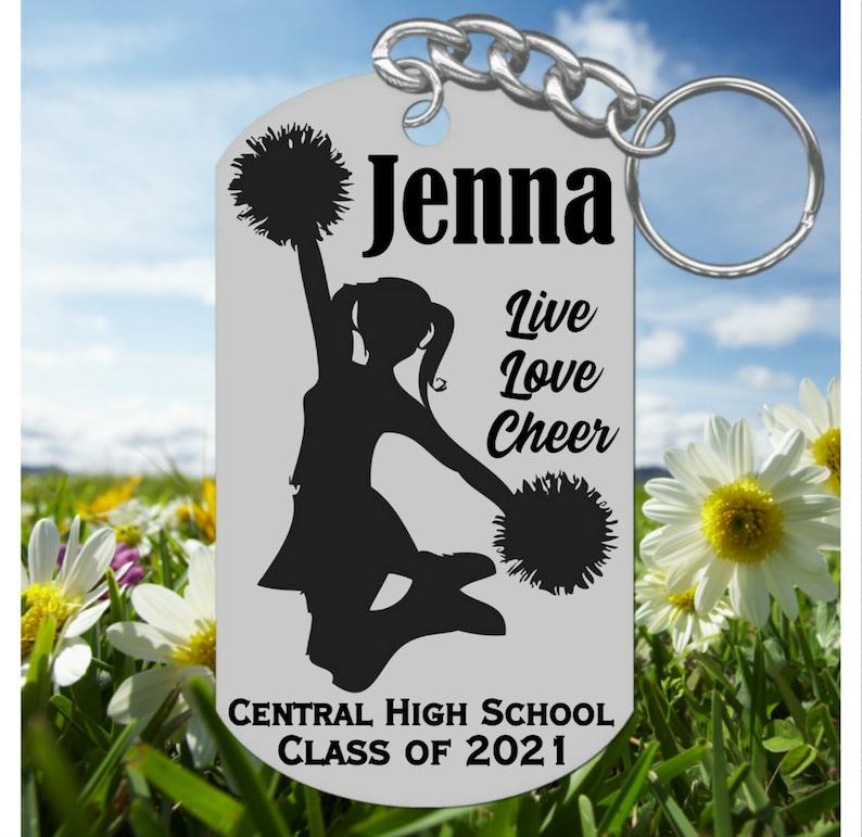 Senior Night Cheerleader Keychain Gift Cheerleading Custom Made Personalized FREE with Name and Team