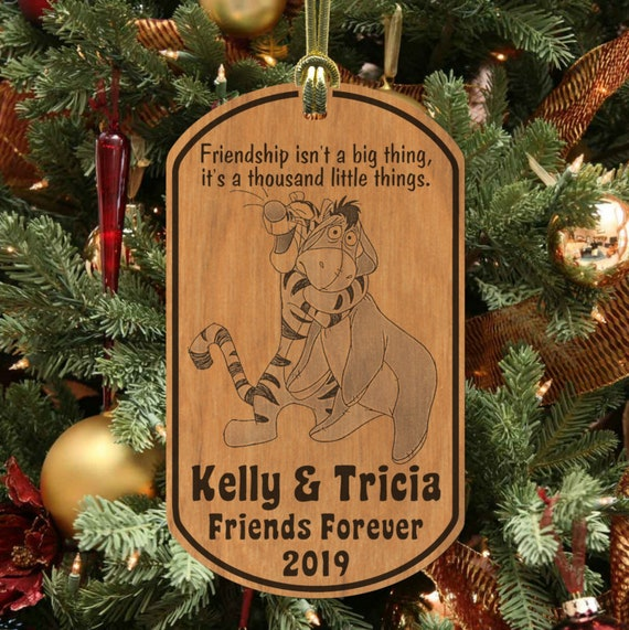 Tigger Christmas Ornaments.Tigger And Eeyore Friends Christmas Ornament Personalized W Names Laser Engraved Alderwood Best Friends Bff Friendship