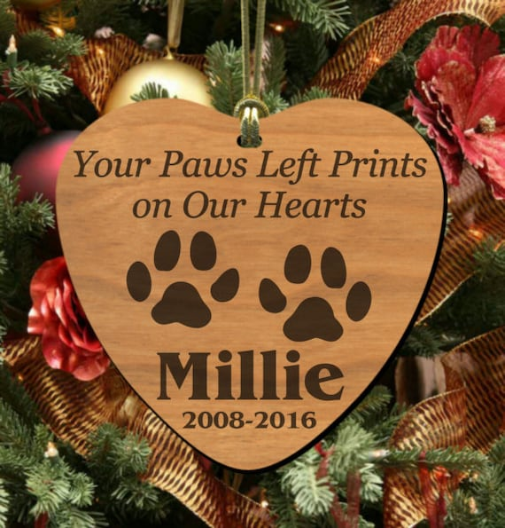 Personalized Christmas Ornament//dog Paws//brown Color