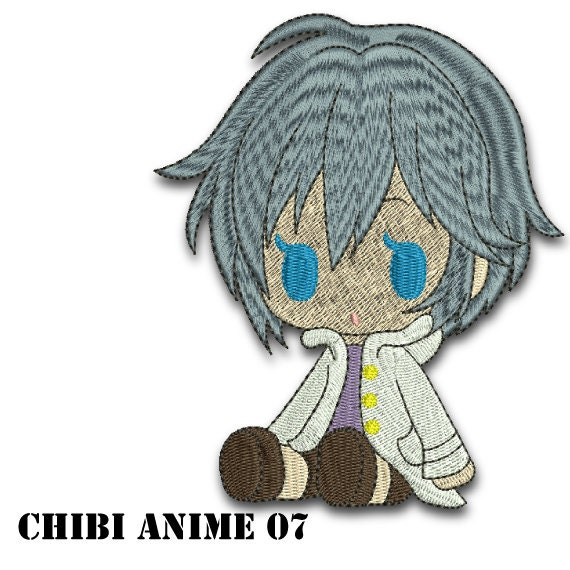 Bordado de diseño - Chibi Anime chico 07 - instantánea descargar patron  para bordar a máquina... 5 tamaños: