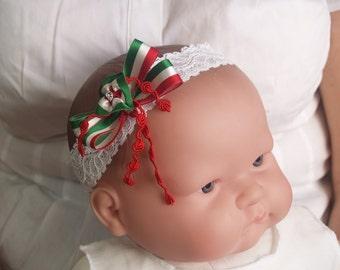 Italian or Mexican Baby hair lace baby girl headband Red  fbc19c3161a