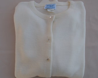 1950/'s Baby Off White Button Down Sweater Julius Berger Embroidery Felt Dog