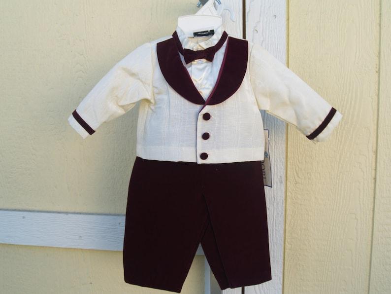 0635ffa1e Vintage Baby Boy Suit Burgundy Velvet 2 Sizes 24M Ivory Shirt | Etsy