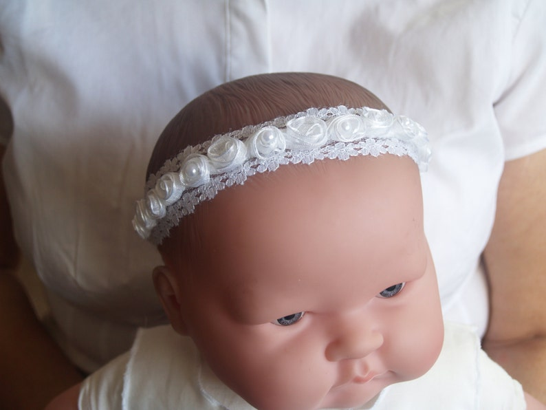 Baby Shower Gift Baby Headband,Christening Pageant Blessing Day Wear Baptism white crown flowers lace pearls Sunday Best Halo