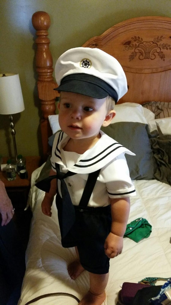 Sailor Outfit w  Captain hatInfant Boy sailor shorts outfit  5c67db67a92