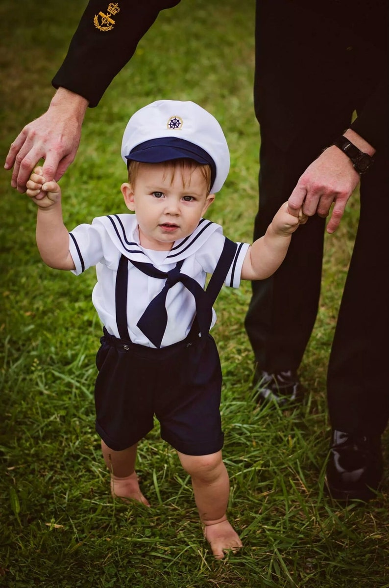 39299dae8 Infant Baby Boy Sailor Outfit Shorts attached suspenders w