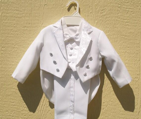 S3 Boy Baptism Communion Formal Party Wedding Tuxedo Suit 1 2 3 4 5 6-20 White