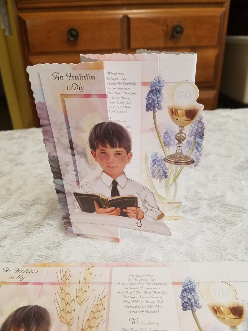 First Holy Communion Invitations Boys 25 pics SET English with envelopes Invitaciones de Primera Comunion de Nina Chalice