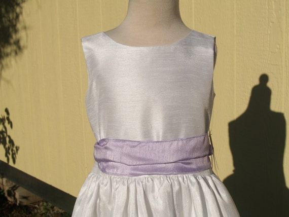 Girls White & Lilac Flower Girls Dress, Sleeveless