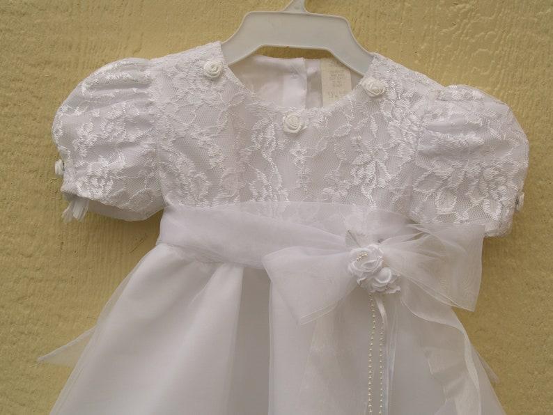 283ba482c White Organza Christening Dress Size 2 Flower girl   Etsy