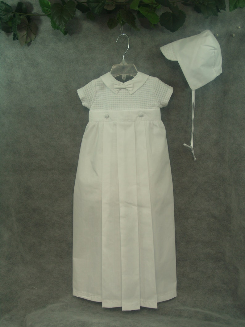 bae382dd23c5 Boys White Baptism Detachable Gown Skirt Converts Into Romper