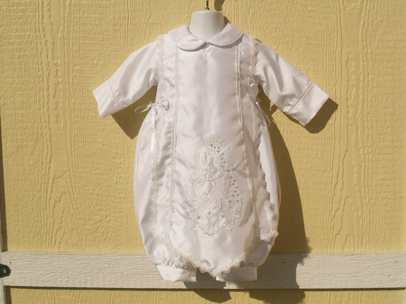 5226b0ab5a5f Boys White Baptism Outfit w Virgin Mary   Pope John Paul