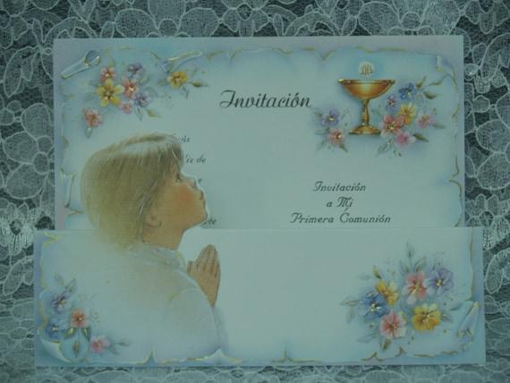 Eerste Heilige Communie Uitnodigingen Boy 10 Stukken Engels Met Enveloppen 06 10 Pack Kelk Heilig Sacrament Vintage Retro Kaarten