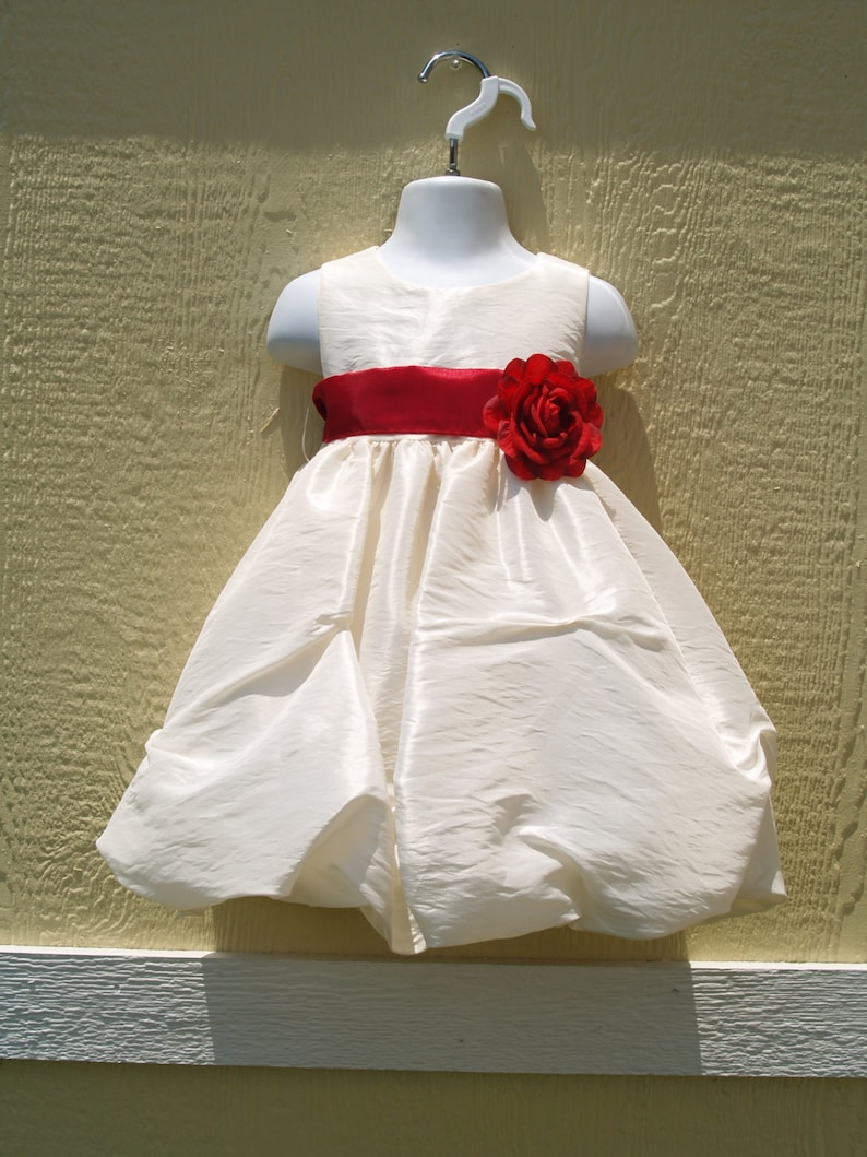942a40a56096f Baby Girls Short Ivory Taffeta Dress w Red Sash & | Etsy
