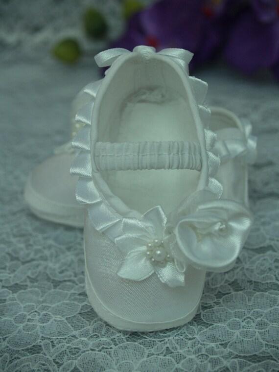 Vendita ** per neonate Cristallo Bianco in Raso Battesimo Scarpe Fascia Per Capelli Set