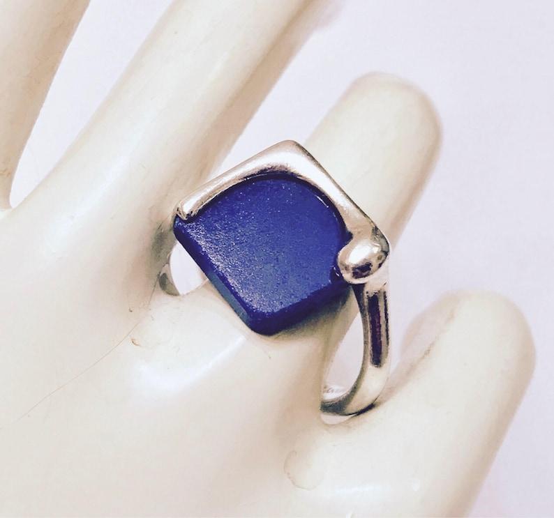 5627040d1 TIFFANY & CO Modernist Sterling Lapis Lazuli Square Slab Ring | Etsy