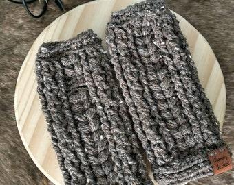 Puffed Up Fingerless Gloves -Medium Brown Tweed