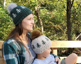 Rippled Timberline Beanie Adult Small - Green with Linen Trees