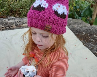 Frosted Rainbow Beanie Toddler - Pink