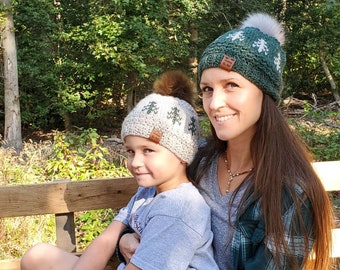 Rippled Timberline Beanie Child - Linen with Green Trees