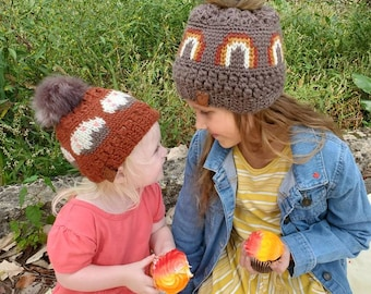 Frosted Rainbow Beanie 6-12 Months - Burnt Orange with Cupcakes