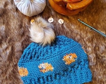 Autumn Waves Beanie Adult Small - Dark Teal with multi-colored Pumpkins