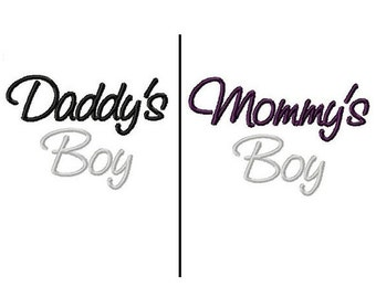 Daddy's Boy- Mommy's Boy Embroidery Designs 4x4 -INSTANT DOWNLOAD-