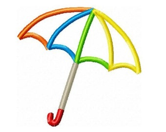 Umbrella Applique Embroidery Design  -INSTANT DOWNLOAD-