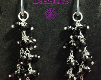 Black Spinel and Sterling Silver Earrings, Handmade, Jewelry
